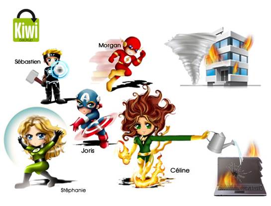 Equipe super heros kiwi backup